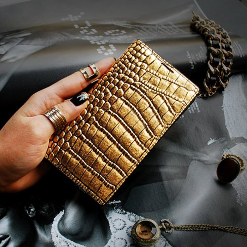 Gold Croco Genuine Leather Crocodile Pattern Diary Cover Case for Samsung Galaxy S5
