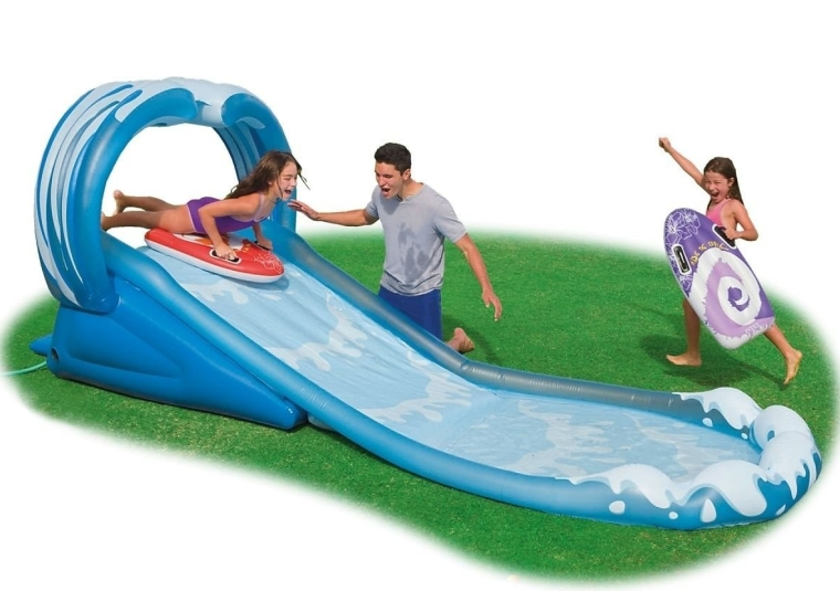 Kids Inflatable Surf N Slide Water Fun Pool Play Center Sprayer