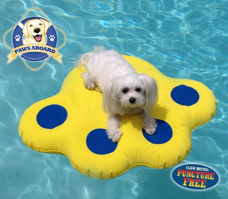 Paws Aboard Doggy Dog Pool Float Lazy Water Raft Puncture Resistant
