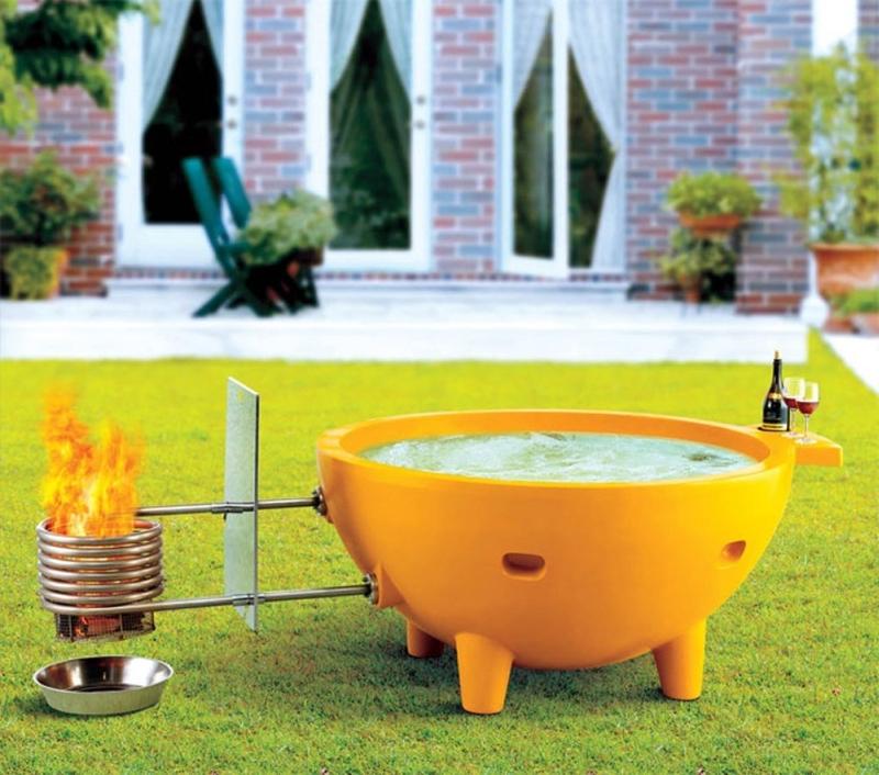 Round Fire Burning Portable Outdoor Fiberglass Soaking Hot Tub