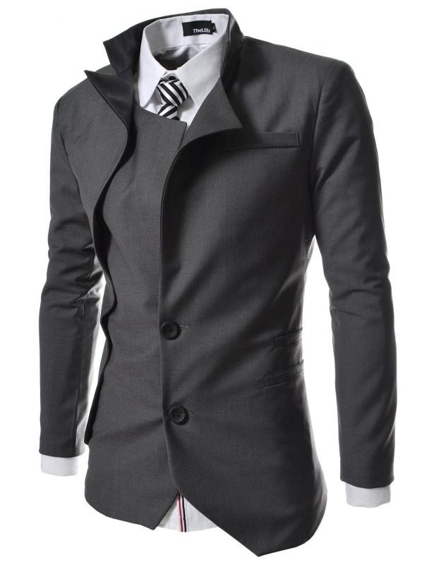 TheLees Mens unbalance 2 button china collar jacket
