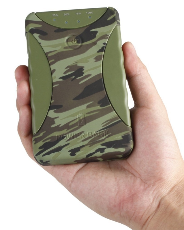 11200mAh Dual USB Portable External Battery Pack IP54 Waterproof Shockproof Dustproof Travel Charger Military Camouflage