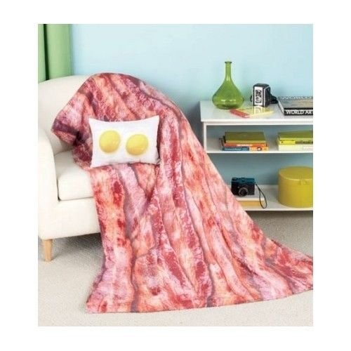 Throw Pillow Blanket Set : Bacon Eggs Blanket Pillow Set Throw Bedroom College