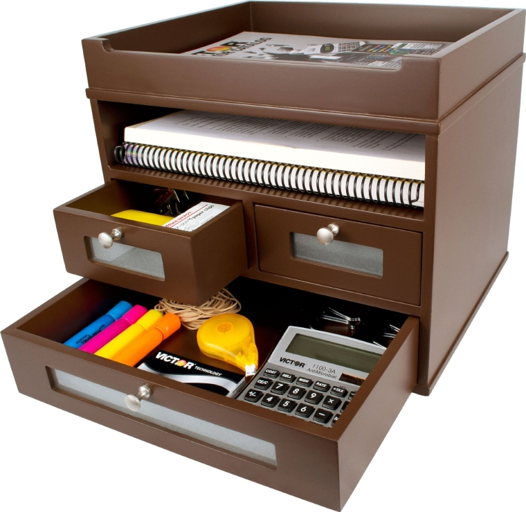 Victor wood tidy tower desktop organizer - Wooden desk organizer with drawers ...