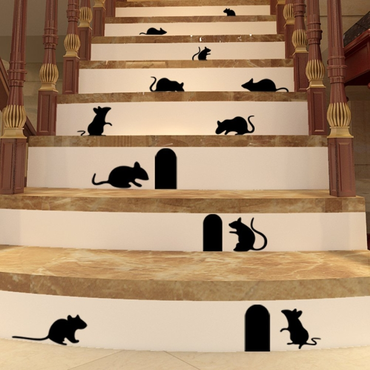 10 black mice with entry hole Halloween vinyl decal