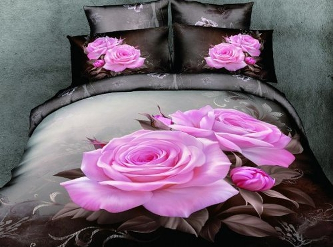 3d Rose Queen Size Leopard Print Bedding Comforter Set