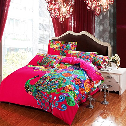 4 pieces Colorful Peacock Animal Red Floral Prints Duvet Cover Set