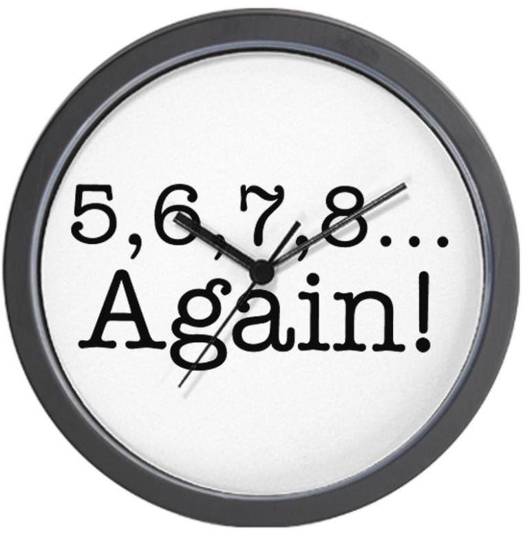5,6,7,8 Again Wall Clock