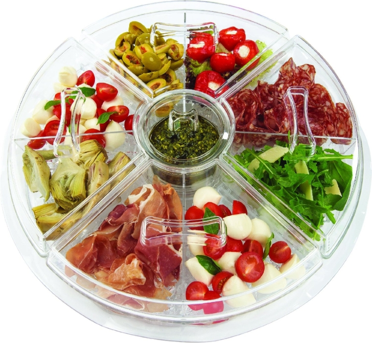 8-Section Ice-Chilled Revolving Appetizer Tray wVented Ice Chamber