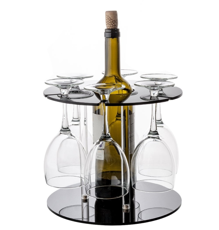 Dual Wine Bottle and Glass Holder Kitchen
