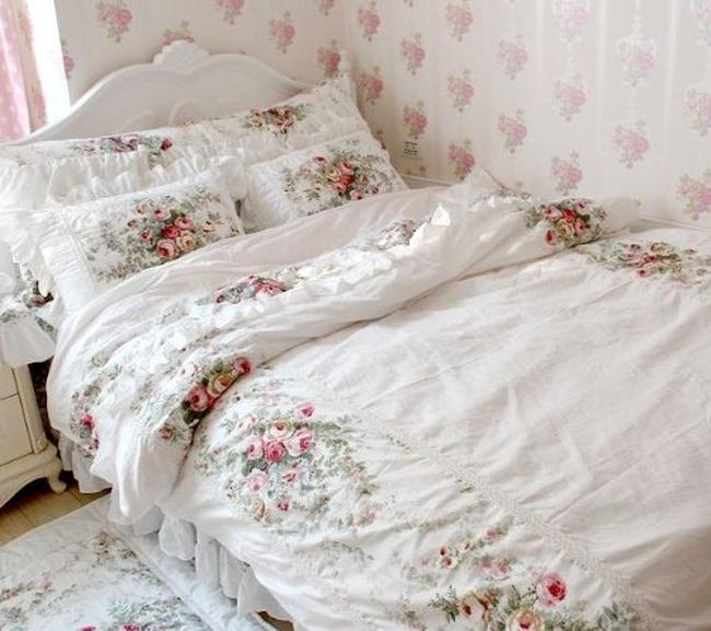European Vintage Floral Rose Bedding Set