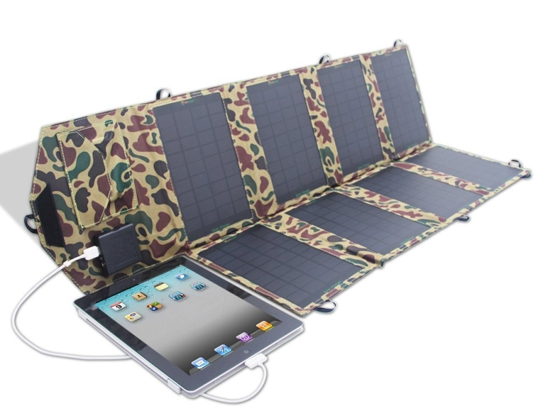 High Efficient 28W 18V Foldable Solar Panel Portable Dual Output Solar Charger