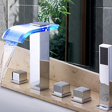 LED Waterfall Wall-mounted Glass Spout Bathroom Faucet with Hand Shower
