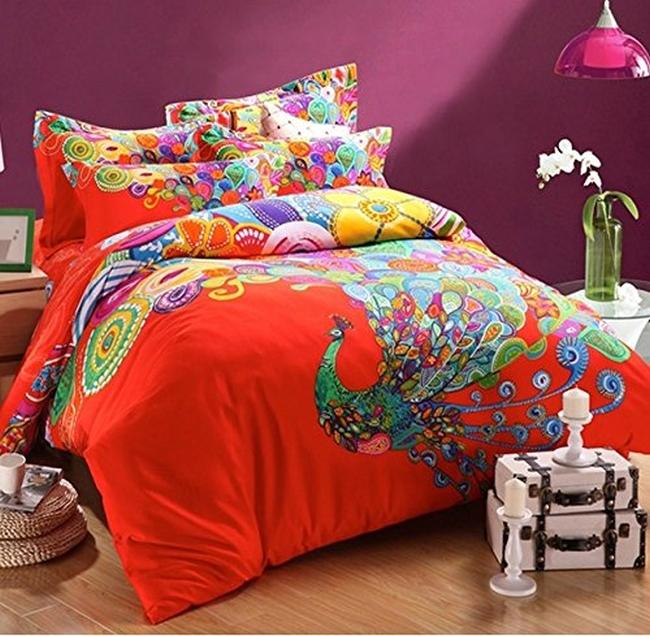 Peacock Print Bedding Set