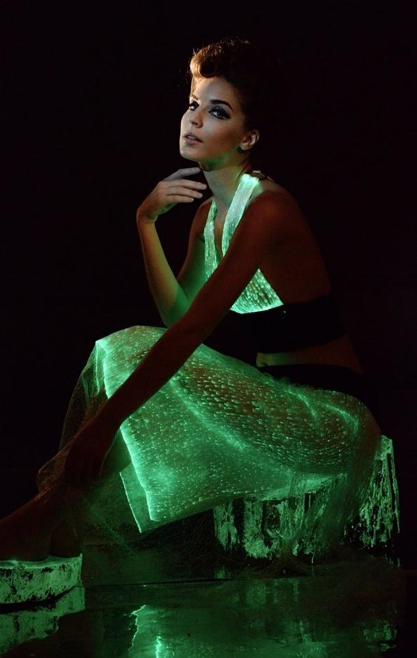 Remote Control Multicolors Luminous Clothing Optic Fiber Material Led Flashing Dress