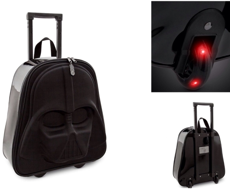 Star Wars Darth Vader 3D Kids Rolling Luggage With Light Up Wheels