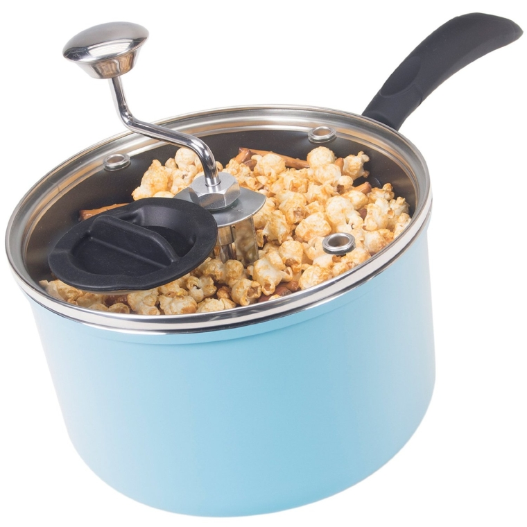 Stovetop Popcorn Popper with Glass Lid