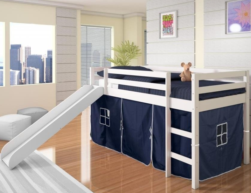 Twin Tent Loft Bed with Slide Finish
