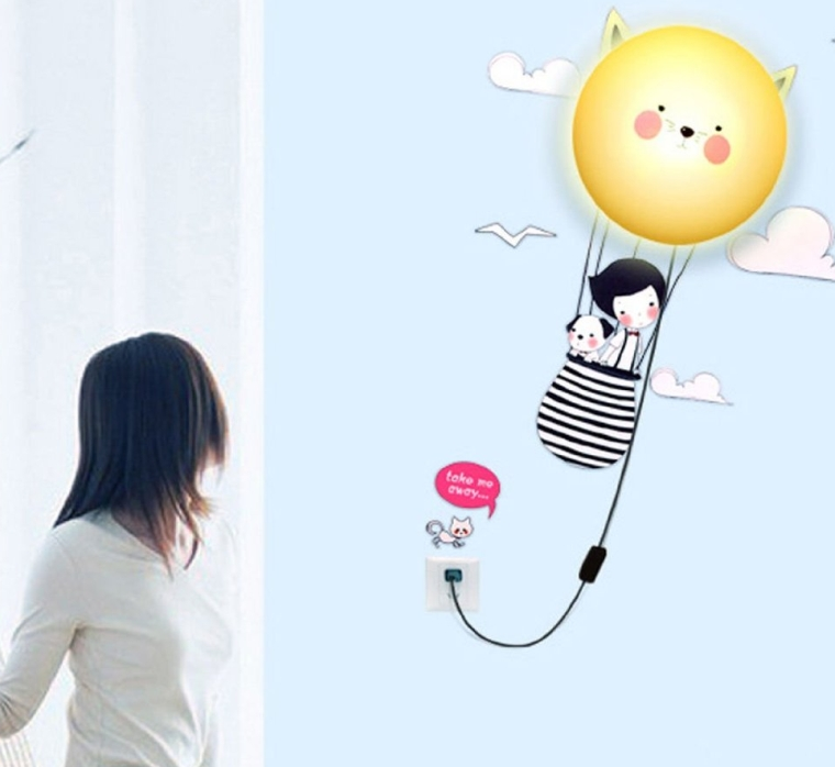 Wall Stickers Home Room Decor Decoration LED Night Light Lamp