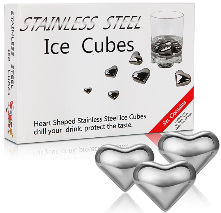 Heart-shaped Set of 6 Stainless Steel Whiskey Chilling