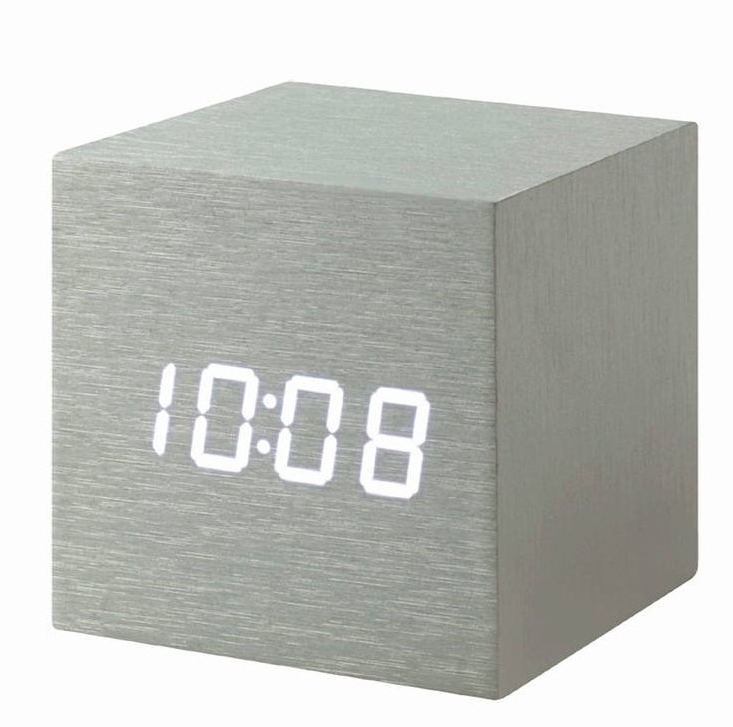 Aluminium Cube Click Clock with White display showing TimeDate Temperature