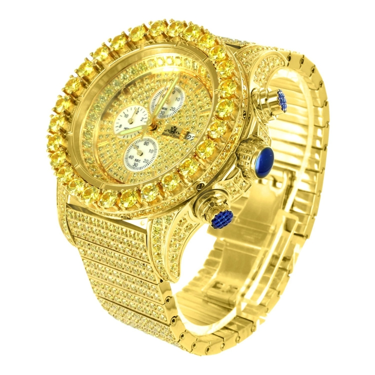 Canary Lab Diamond Bezel Date Display 3 Dial 14k Yellow Gold Finish Watch