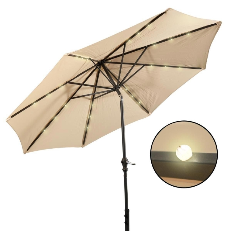 LED steel Pole Patio Solar Umbrella Outdoor Beach