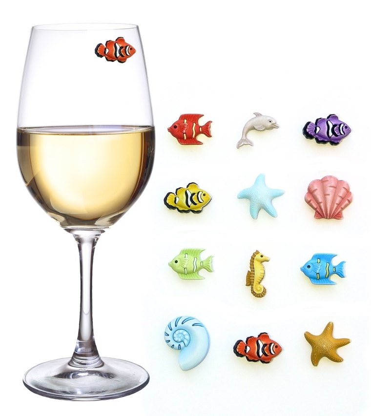 Tropical Fish Magnetic Wine Charms & Markers