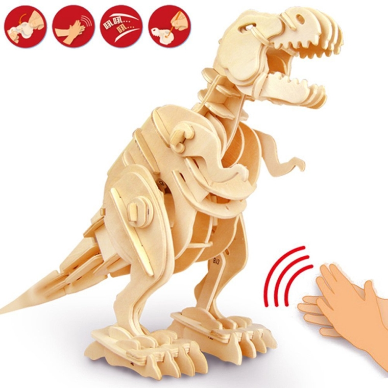 Walking T-Rex Robotic Dinosaur Wooden Puzzle Sound Controlled Roaring Model intelligence Toy