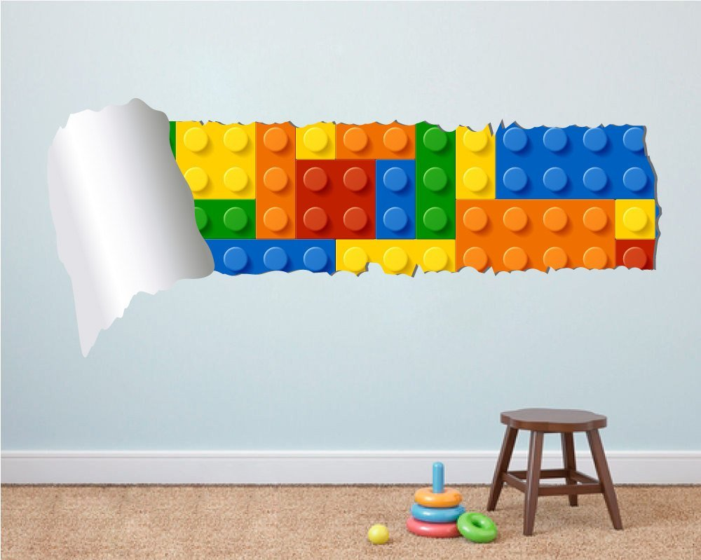 Lego Effect Style Torn Wall Stickers