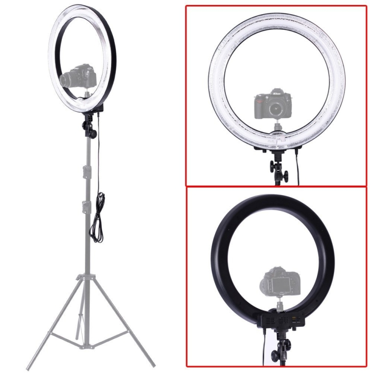 Neewer Camera PhotoVideo 18Outer 14Inner 600W 5500K Dimmable Ring Fluorescent Flash Light
