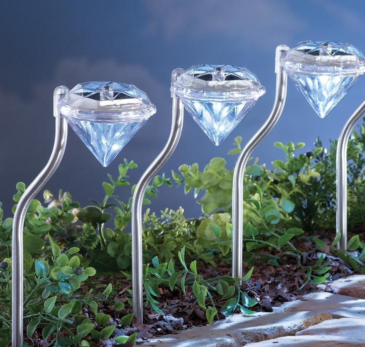 Solar Diamond Pathway Garden Stakes - Set of 4