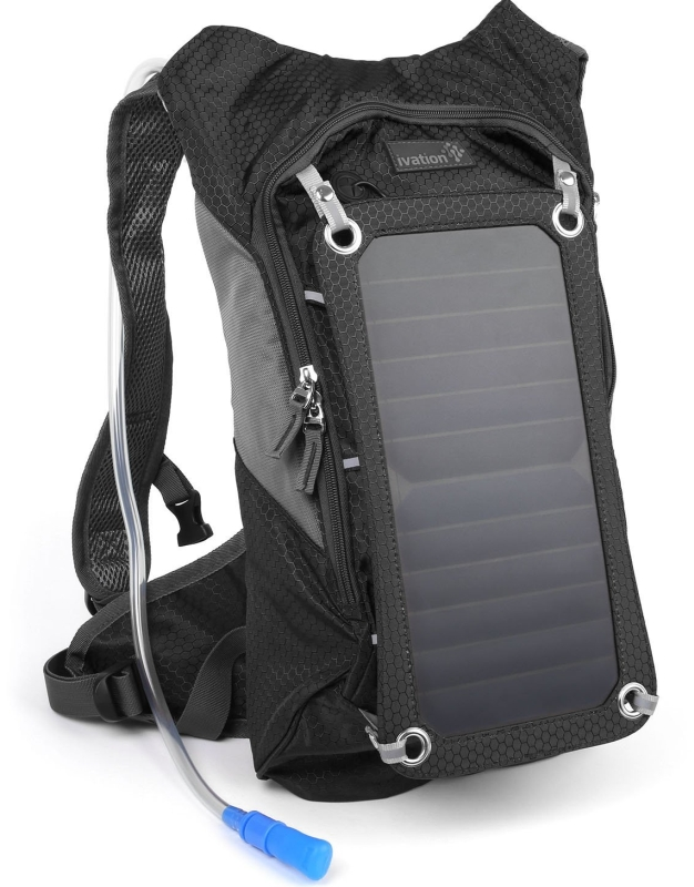 7 W Solar Charging Panel, 1.8L Hydration BackpackBladder Bag wFlexible Drinking Pipe