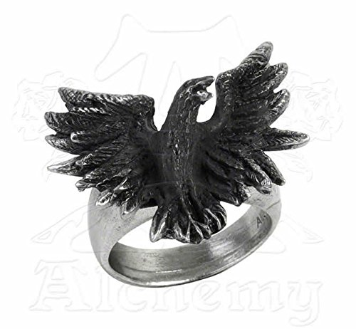 Alchemy Gothic R197L Flocking Raven Ring