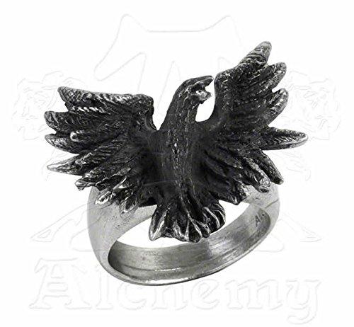 Alchemy Gothic R197L Flocking Raven Ring
