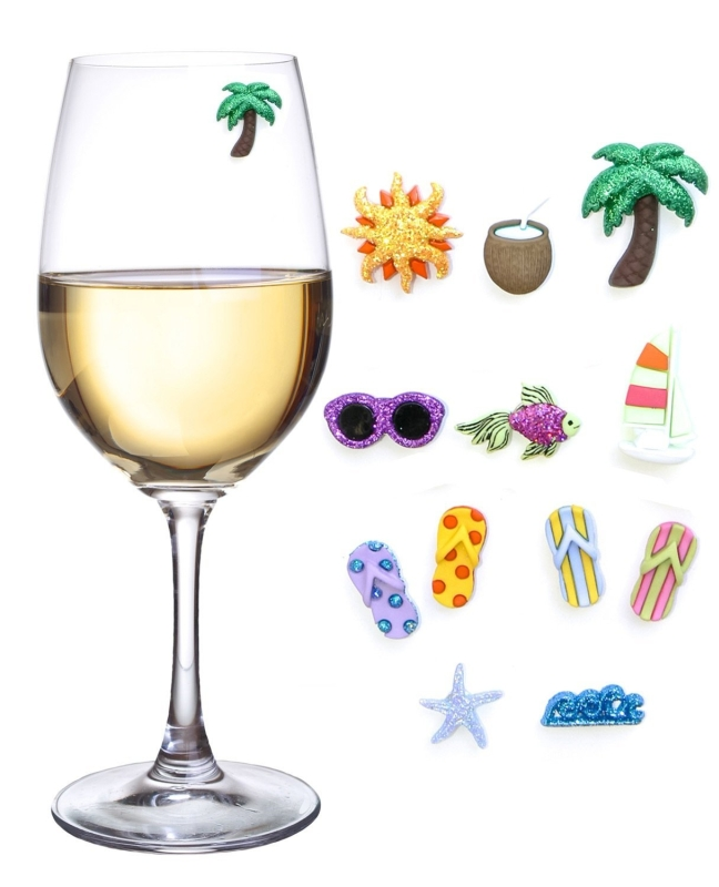 Beach & Sea Magnetic Wine Glass Charms and Markers