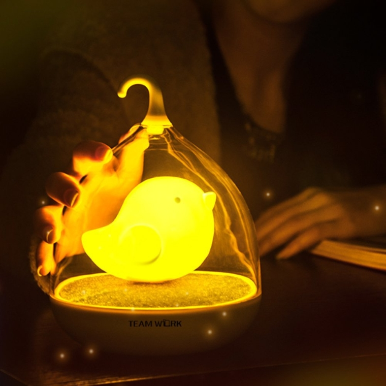 Creative Birdcage Shape Portable Touch Control 3d Bird LED Night Lamp