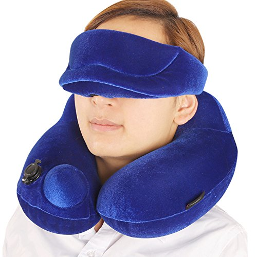 Inflatable Travel Pillow with Eye Mask Set