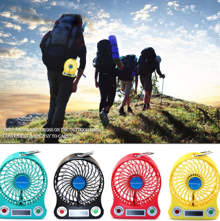 LED display Portable Fan 4-inch 3 Speeds Mini USB Rechargeable Fan