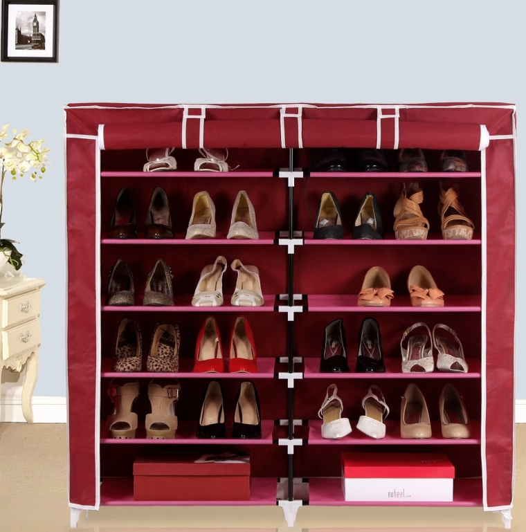 Portable Shoe Rack Closet with Fabric Cover Shoe Storage Organizer Cabinet Claret