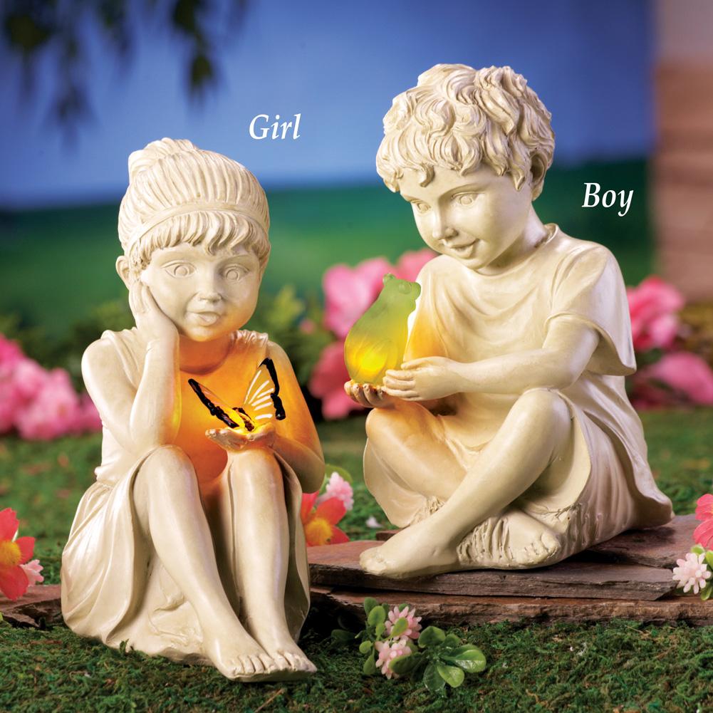Solar Children Garden Statue and Pet