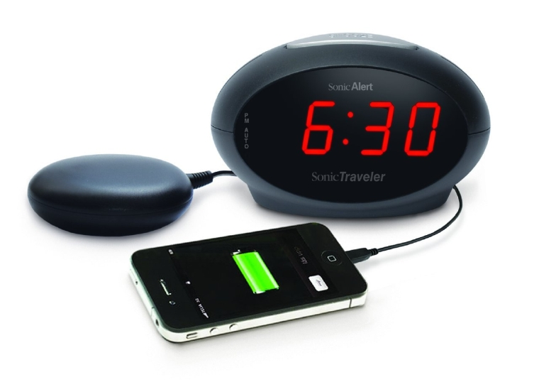 Sonic Boom Sonic Traveler Alarm Clock with Bed Shaker  USB Charger