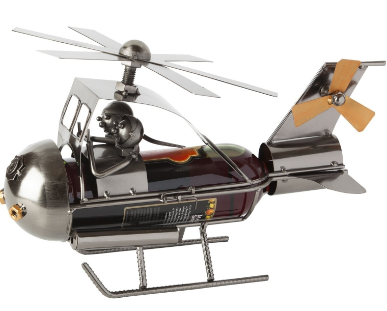 Wine Bottle Holder Couple in Helicopter