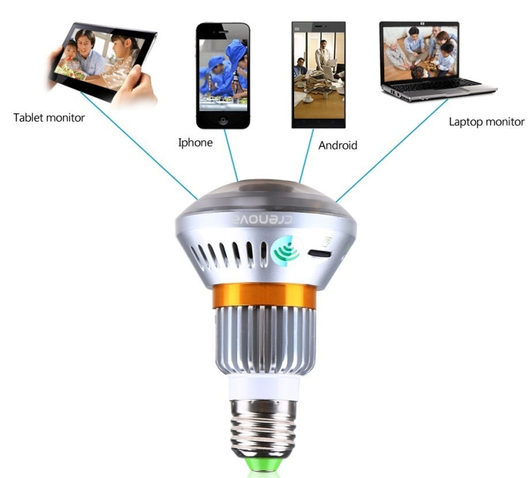 WirelessWiFi Automatic Light Control and Video Recording Bulb Hidden Security DVR Camera