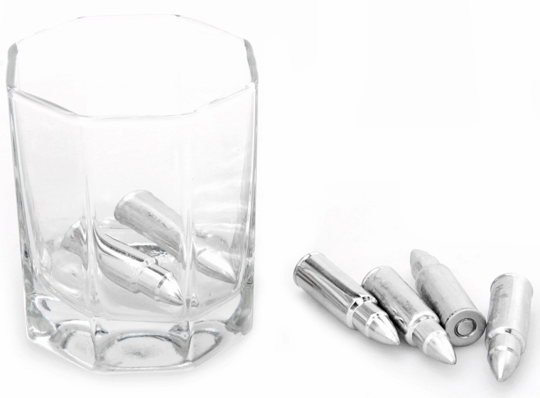 1. Bullet Shaped Stainless Steel Set of 6 Whiskey Stones