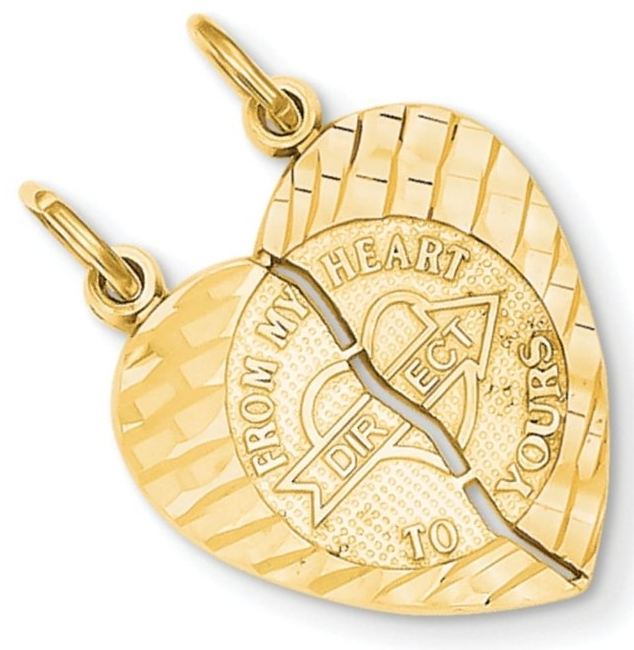 14k Gold 2-Piece Break-Apart Polished 'From My Heart Direct to Yours' Heart Pendant