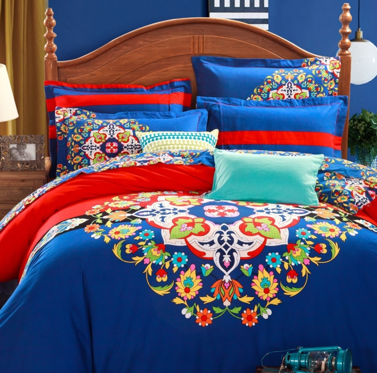 4-Piece Bohemian Bedding Boho Bedding Set Full Queen Size