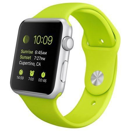 Apple Watch 42mm Silver Aluminum Case with Green Sport Band