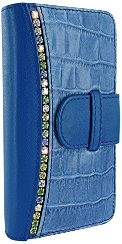 Apple iPhone 6 Plus  6S Plus Piel Frama 687 Blue Swarovski Crocodile Leather Wallet