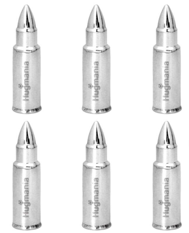 Bullet Shaped Stainless Steel Set of 6 Whiskey Stones